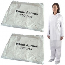 Economy White Aprons Flat Packed (Case Of 10 x 100 Packs)