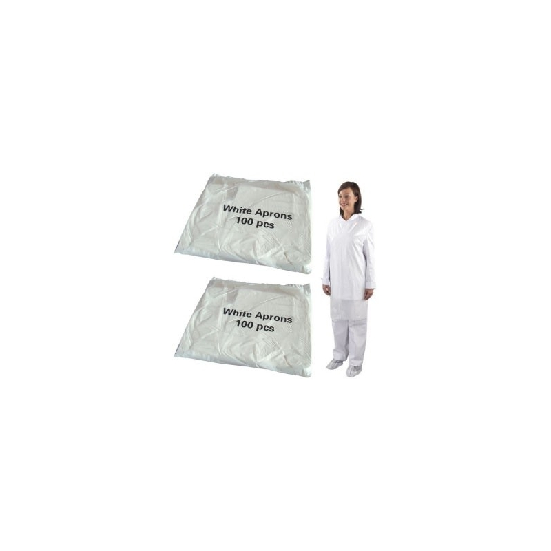 Economy White Flat Pack Aprons (Case Of 10 x 100 Packs)